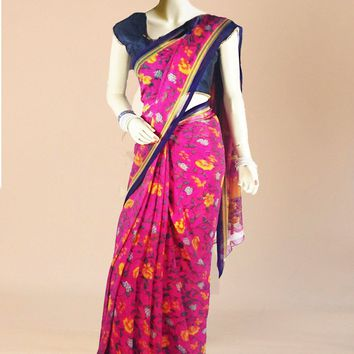 the floral print georgette saree in fuchsia