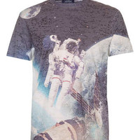 WHITE BURNOUT SPACEMAN T-SHIRT