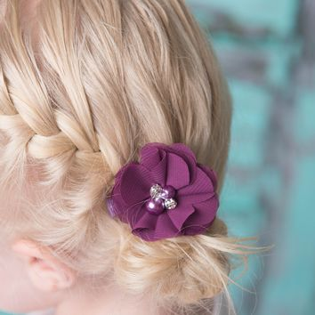 Plum hair clips