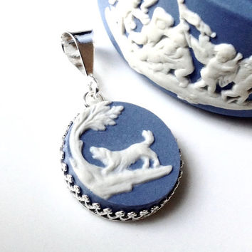Broken China Jewelry, Dog Necklace Dog Lover Gift, Dog Pendant, Wedgwood Jasper Ware, Dog Necklace, OOAK