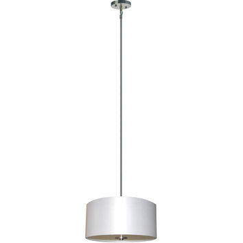 Yosemite Home Decor SH1607-3P-PWSS Lyell Forks Satin Steel Three Light Drum Pendant with Pristine White Shade