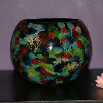 A Multi Coloured 24 cm Glass Vase Painted With Oil Paints Showing Warts And All.