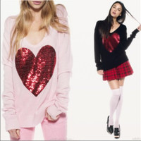 Red Sequin Heart Sweater