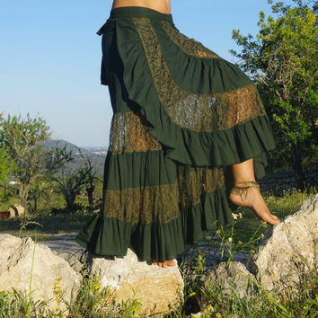 Gypsy Bohemian Flamenco Long Skirt, Maxi Skirt, Renaissance Skirt, Belly Dance Skirt, Festival Skirt, Burning Man Skirt, Burlesque Skirt