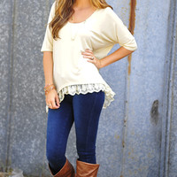 Trimmed In Lace Top: Ivory | Hope's