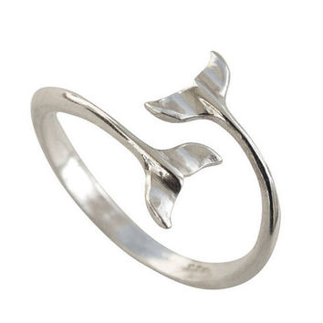 Sterling Silver Ring, Silver Whale Tails Ring, Silver Band Ring, Silver Ocean Ring, Sea Silver Ring, Adjustable Silver Ring, Nautical Ring