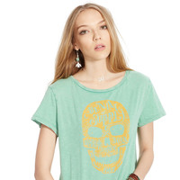Casual Skull Printed Green T-shirt