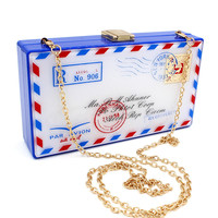 Blue Envelope Chain Clutch Bag