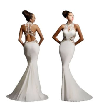 Sexy Lace Jeweled Hollow Boutique Mermaid Maxi Fishtail Party Dress Formal Event