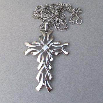 Signed Crown TRIFARI Silver Tone Large 1960's Modern Cross Necklace