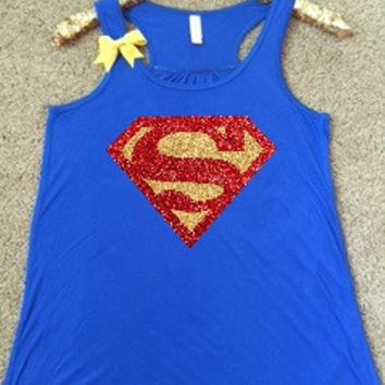 Superman Shirt - Superman - Superhero Shirt - DC - Ruffles with Love - Glitter - Graphic Shirt