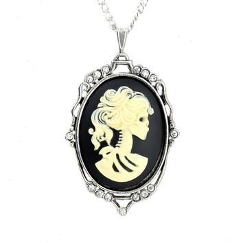 Dead Girl Skeleton Cameo Necklace Victorian Lolita Pendant
