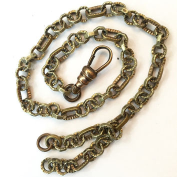 Vintage Victorian Pocket Watch Chain, Antique Fob Chain, Edwardian Watch Chain, Ornate Links, Assemblage Jewelry Necklace Estate Jewelry