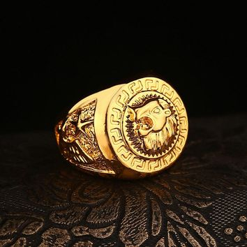 Fashion New Celebrity Style  Yellow  Lion Head Male Ring Hip Hop Dance Punk Rock Bling Men Ring (Size:US 7-11)