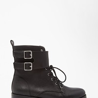 Buckled Faux Leather Boots