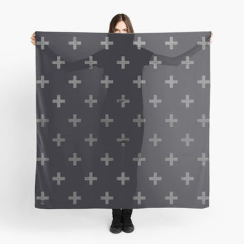 Scarf Wrap Shawl Swiss Cross Black Grey Design Hipster Design Large Square Scarf 55 Square Inches A Light Chiffon Fabric