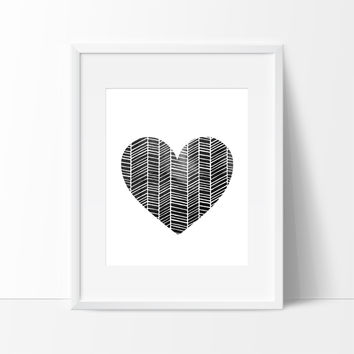 Patterned Heart with Brush Strokes in Black #2, Wall Decor Ideas