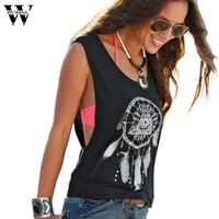 JU 29 Fairy Store 2016 Hot Selling  Sexy Women Dreamcatcher Printed Sleeveless Tops Crop Tank Vest Shirt Tee
