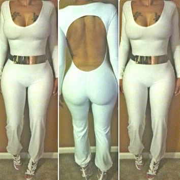 White Scoop Neck Long Sleeve Backless Bodycon Jumpsuit