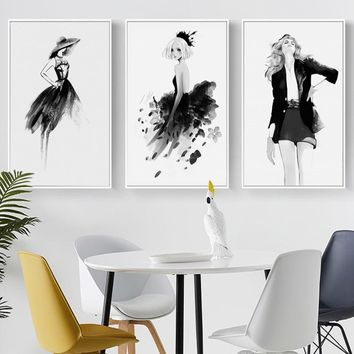 SURE LIFE Modern Fashion Girls Clothing Poster Canvas Printings Black White Paintings Wall Art Pictures Living Room Home Decor