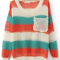 Red Green Round Neck Long Sleeve Striped Pockets Cotton Blends Sweaters - Sheinside.com