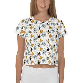 Little Bees All-Over Print Crop Tee