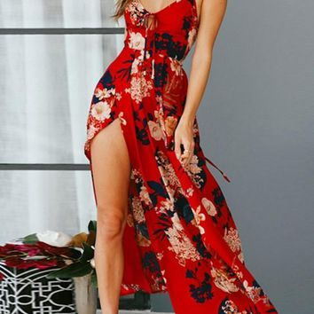 Red Floral Tie Back Side Draped V-neck Maxi Dress