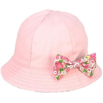 Baby Hat Girl Magic Reversible Bucket Cap for 3 to 12 Months Infant Kids Girls Toddler Sun Hats Summer Flower Bow-knot Style