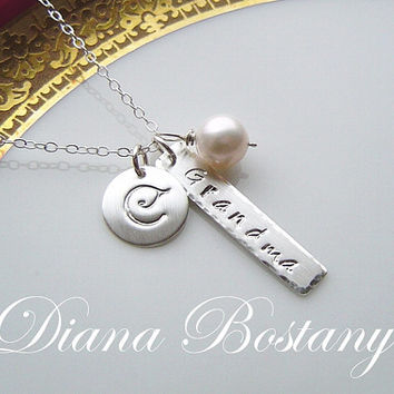 SALE - 10% off Grandma Necklace . Sterling Silver Name Necklace . Personalized,  Hand stamped, Mothers, Gift