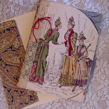 Victorian Ladies Greeting Card  Fabric Everyday All Occasion Note Card Handmade Stationery itsyourcountry