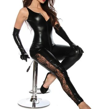 2016 sexy women Black Catwomen Jumpsuit Catsuit ClubWear Costumes for Women Body Suits
