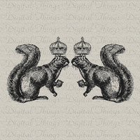 Antique Vintage Squirrels with Crowns Digital Image Download Iron Transfer Tote Pillows Tea Towels DT222