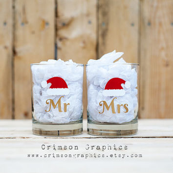 Mr. + Mrs. Santa Hat Christmas Wedding Anniversary Old Fashioned Glass Set