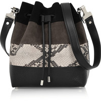 Proenza Schouler - Bucket medium suede, python and leather shoulder bag