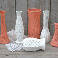 Shabby Chic Vases, Coral, White, Painted, Distressed, Glass, Wedding Decor