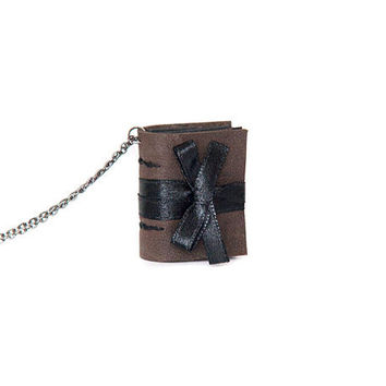 Leather miniature book necklace, mini photo album necklace, journal gothic steampunk, black pages, satin ribbon - black brown taupe grey