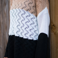 Warm Waves Sweater, Tan/Black