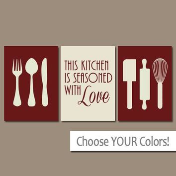 KITCHEN Wall Art, Canvas or Prints Kitchen Utensils Pictures, Decor  Quote Seasoned with LOVE Art Housewarming Gift Home Decor Set of 3
