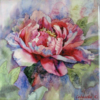 Painting  watercolor Airy Peony, Ceramic tiles, Sublimation - January Birthday, wall decoration 10x10 cm, Floral - SobolevaArt