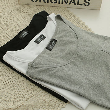 Good quality solid color simple loose cotton T-shirt