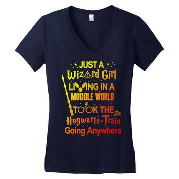 Just A Wizard Girl Living In A Muggle World Women's V-Neck T-Shirt