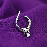 septum ring - septum clicker - tribal septum ring - unique septum ring 16g - septum jewelry - silver clear gem