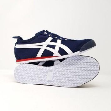 DCCKV3A Asics Onitsuka Tiger Mexico 66 Slip-On Canvas Shoes Navy White Red D3K0N-1650