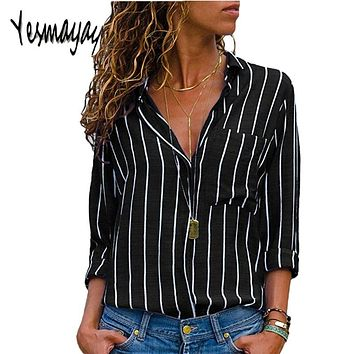 Black Red Striped Blouse Womens Tops And Blouses Long Sleeves Women Blusas Mujer De Moda V Neck Blouse Shirt