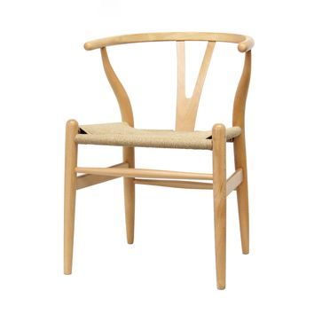 Baxton Studio Mid-Century Modern Wishbone Chair - Natural Wood Y Chair Set of 2