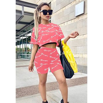 Champion Newest Hot Sale Women Casual Logo Print Short Sleeve Top Shorts Set Two-Piece Sportswear Pink
