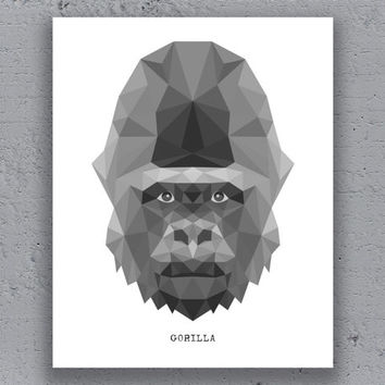 Gorilla Print Printable Poster Typography Geometric Print Black White Wildlife Animal Art Retro Art Print Instant Download Digital Print