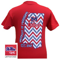 Ole Miss Mississippi Hotty Toddy Chevron State Bright T Shirt