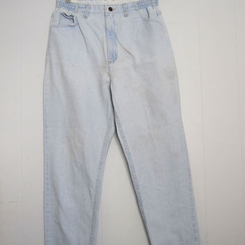 "Vintage 90s Light Wash High Waisted Mom Jeans Elastic Tapered Leg Blue Denim 30"" 32"""