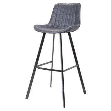 Langdon Fabric Bar Stool, Lustrous Black Set of 2